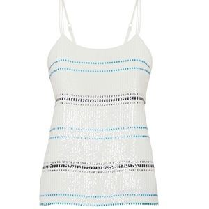WHBM Camisole Striped White Sequins Size Small